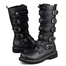 2017 men black retro combat boots belt buckle punk martin motorcycle boots leather military boots autumn men shoes leather boots las boots from