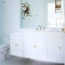 Beveled Bathroom Mirror Square Brass Pulls On Floating Sink Vanity