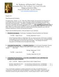 Catholic Confirmation Retreat Letter Sample Samples From Sponsor