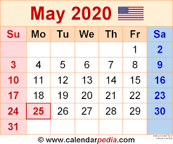 Calendar May 2020 May 2020 Calendars For Word Excel Pdf