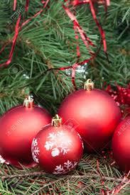 Vertical Christmas Still Life Few Red Christmas Balls On Xmas