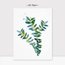 spring leaves watercolor vector painting wall art nursery roon decor art greenery poster fine art paper k118 in painting calligraphy from home garden on  on flowers wall art decor vector with spring leaves watercolor vector painting wall art nursery roon decor