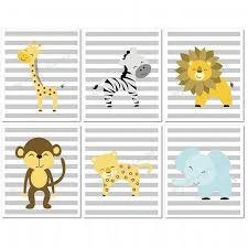 jungle nursery wall art giraffe lion elephant zebra monkey set of 6 printable