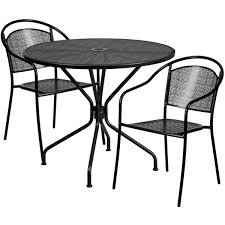 35 25 round black indoor outdoor steel patio table set with 2 round back