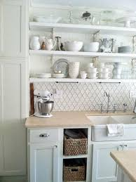 white country kitchen with butcher block. Stylish Wicker Baskets And White Country Shelves For French Provincial Kitchen Ideas With Beige Butcher Block Countertop