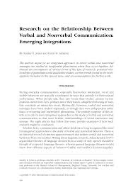 research on the relationship between verbal and nonverbal  research on the relationship between verbal and nonverbal communication emerging integrations pdf available