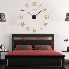 diy 3d mirror sticker wall clock roman numerals large size 3m011 black