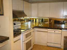 Mirrored Backsplash In Kitchen Small L Shape Kitchen Decoration Using Black Granite Kitchen