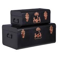 Black Elegant Set of 2 Storage Trunks - London Trunk Company