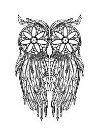 Feather Owl Coloring Page Adult Coloring Pages Doodling Pages 15097
