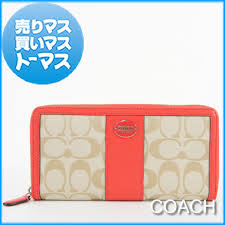 Authentic COACH Legacy Signature Accordion Zip Wallet Zip-around Light khaki  Beige Bright coral Red Neon Logo Canvas Leather 48463-SVB3V Women Lady s  fs04gm