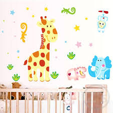 Babies Room Wallpaper Cartoon Giraffe Wall Stickers For Nursery Baby Decor  Children Decoration Borders