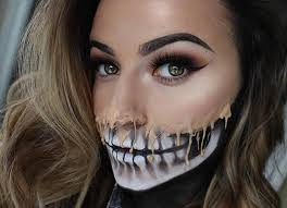 melting skull makeup look