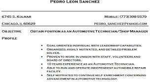 Sample Resume Cover Letter For Automotive Technician Lezincdc Com