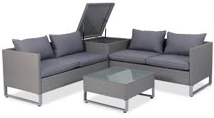 royal synthetic rattan outdoor sofa set with storage box grey