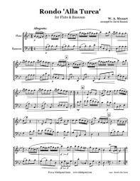bassoon sheet music mozart turkish march flute bassoon duet whichpond music