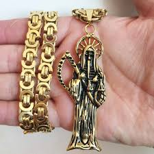 santa muerte holy grim reaper gold black tone pendant with 8 5mm flat byzantine