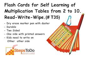 T35 - Flash Cards for Self Learning of Multiplication Tables from ...