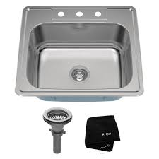 kraus drop in stainless steel 25 in 3 hole single bowl kitchen sink kit ktm25 the home depot