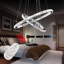 Hengda Hängeleuchte Deckenlampen Mit 2 Led Ring Kronleuchter Kristall Hängelampe 64w Dimmbar Lichtfarben Wechselbar Rund Wohnzimmerlampe