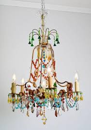 beautiful and unique multicolored crystal glass chandelier very rare and one of a