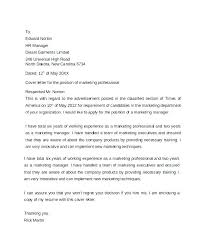 Marketing Cover Letter Marketing Cover Letters Examples Best