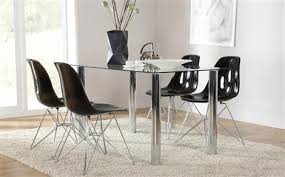 glass dining furniture. lunar glass and chrome dining table with 4 helix black chairs furniture n