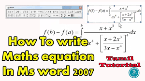 how to write mathematical equation in ms word 2007 tamil tutorial maths equation microsoft word