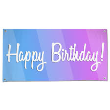 Purple Happy Birthday Banner Happy Birthday Banner With Bold Blue And Pink Colors And Cursive