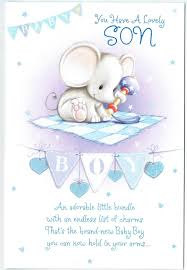 Card For Baby Boy New Baby Boy Card With Cute Elephant Design And Sentiment Verse