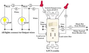 wiring diagrams for a gfci and switch combo do it yourself help house wiring diagram symbols at Do It Yourself Wiring Diagrams