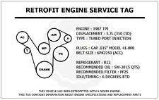 corvette tpi engine 1987 tpi 5 7l corvette retrofit engine service tag belt routing diagram decal