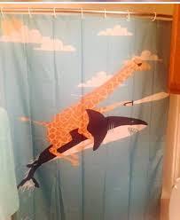 giraffe riding shark shower curtain uk soozone