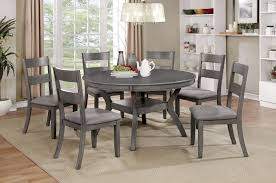 furniture of america cm3162rt 7pc 7 pc juniper gray finish wood 54 round dining