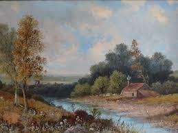 large gilt framed 19th century landscape oil painting signed j hall