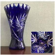 vintage cobalt blue vase cut to clear crystal vase pinwheel pattern cut glass vase collectible trumpet vase gift for her flower vase