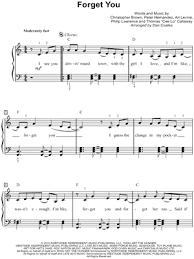 forget you piano sheet music