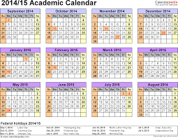 academic calendars 2014 2015 as printable excel templates template 3 academic calendar 2014 15 for excel landscape orientation year at
