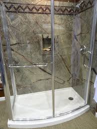 fleurco curved glass shower enclosure with sentrel waterproof wall surrounds