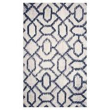 blue and white geo pattern rug