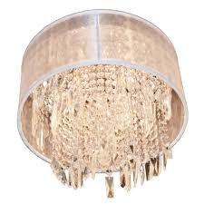 tempest collection 4 light chrome finish crystal flush mount ceiling light with white organza drum s