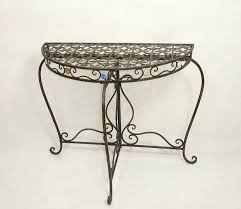 wrought iron indoor furniture. antique wrought iron scroll design rustic crescent console table indoor outdoor furniture