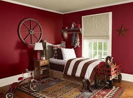 Boy's bedroom in red color scheme