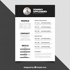 Black And White Resume Design Vector Free Download