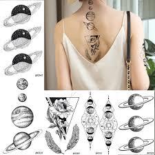 Baofuli женские галактические планеты временная татуировка черный цветок перо водонепроницаемые фальшивые татуировки искусство тела татуировки на руку