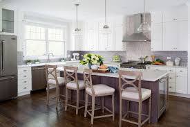 Painted White Kitchen With Dark Grey Stained Walnut Island Crystal