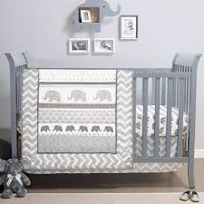 elephant walk 4 piece jungle geometric chevron grey baby crib bedding set by