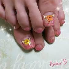 ピンクラメグラに押し花フットネイル Amour B Nail京都河原町