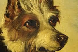 antique jack rus dog portrait painting papier mache dish circa 1860 after george armfield