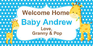 Welcome Home Baby Boy Banner Baby Shower Its A Boy Baby Giraffe Welcome Home Baby Boy